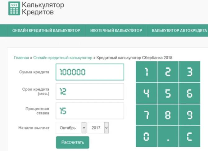 Калькулятор автокредита в Сбербанке